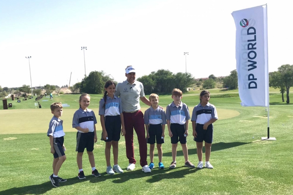 Par Excellence - students from Dubai Heights Academy get into the swing with golfing legend Ian Poulter